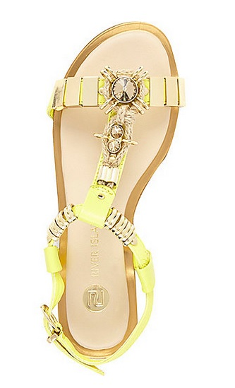 d2cfe8656 River Island Lime Jewel Detail T-Bar Sandals – Buy It Here