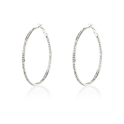 River Island Silver Tone Diamante Hoop Earrings