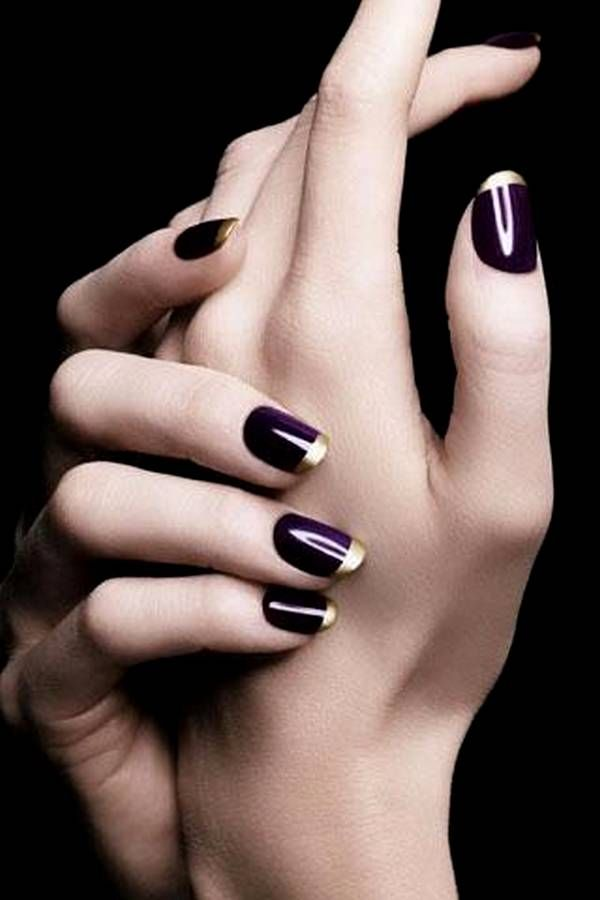 Plum and Gold French Manicure for Fall/Winter 2015