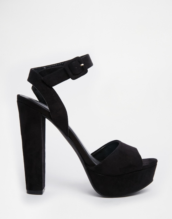 ASOS Black Platform Heeled Sandals