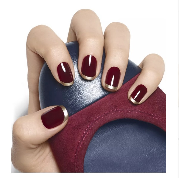 Burgundy and Gold French Manicure for Fall/Winter 2015